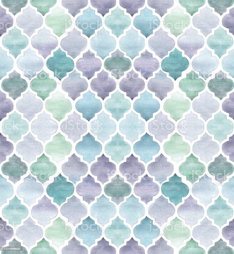 シームレスな水彩模様シェブロンタイル テクスチャの背景モロッコのモチーフは白い背景に隔離されています壁紙テキスタイル包装紙のための青と紫の色ヴィンテージ手仕事 イスラム教のベクターアート素材や画像を多数ご用意 Istock