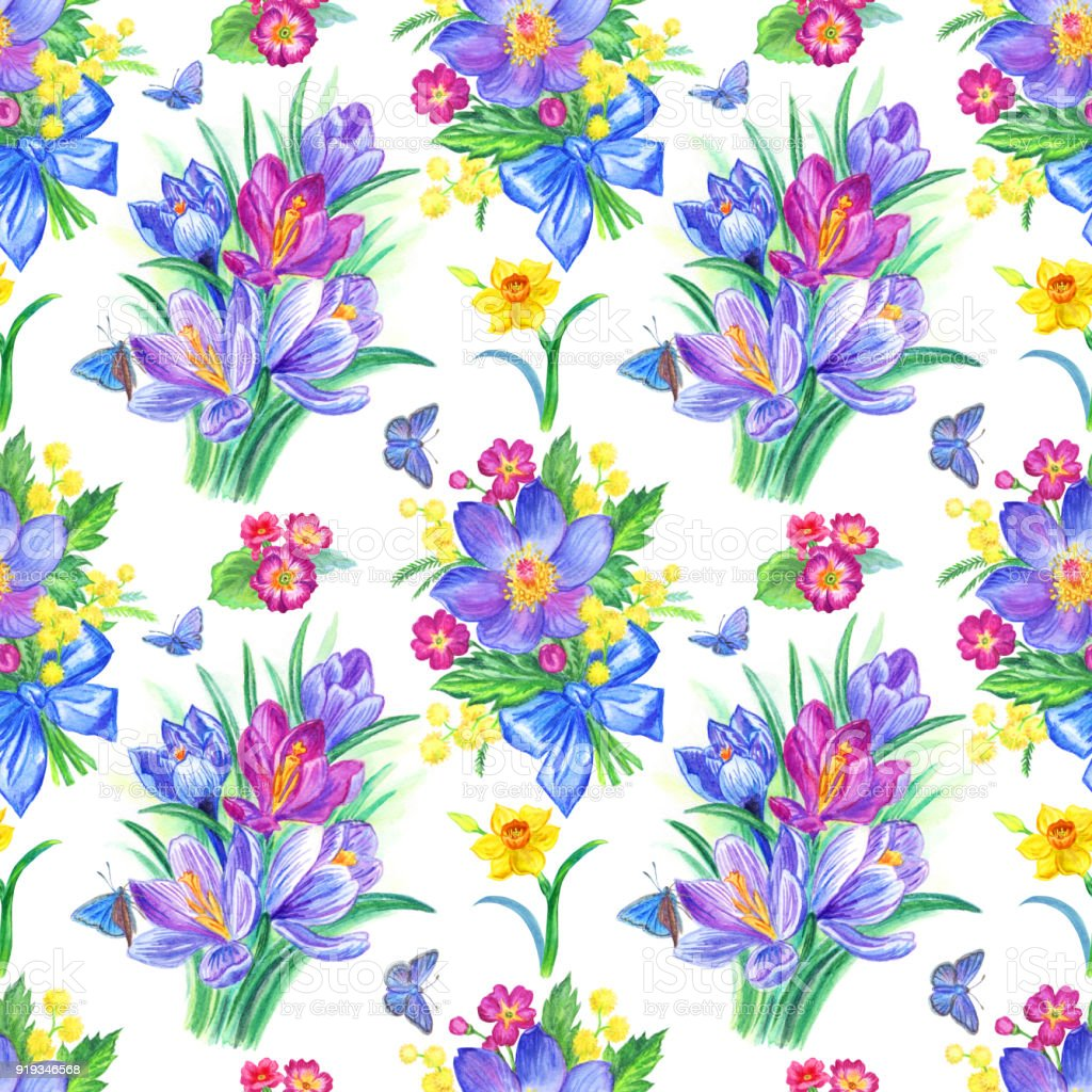 Seamless Watercolor Pattern From Spring Flowers And Butterflies