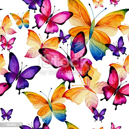istock Seamless watercolor pattern of multicolored butterflies. 1186988178
