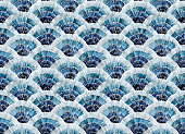 istock seamless watercolor pattern with blue abstract fish scales pattern. hand drawing print moroccan patterns, tiles. gradient blue 1304536913