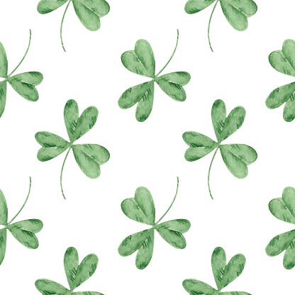 Seamless watercolor pattern with clovers on a white background. St.Patrick 's Day. Good luck symbol. Irish holiday.