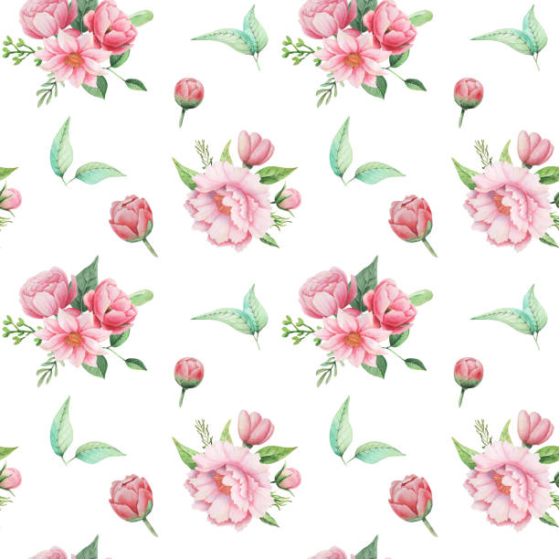 Seamless watercolor pattern with flowers and leaves isolated on white background Seamless watercolor pattern with flowers and leaves, isolated on white background pacific dogwood stock illustrations