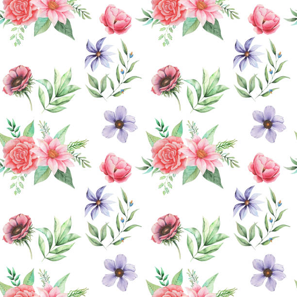 Seamless watercolor pattern with flowers and leaves, isolated on white background Seamless watercolor pattern with flowers and leaves isolated on white background pacific dogwood stock illustrations
