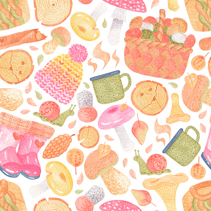 Seamless watercolor pattern with forest stuff and hiking items - mushrooms, leaves, ferns, sweater, lantern, hat. Hand drawn tourist illustration. For creating fabrics, wrapping paper, invitations.