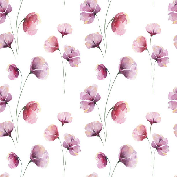 Seamless watercolor pattern with lilac abstract flowers and petals on a white background. vector art illustration