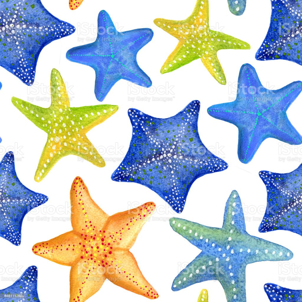 Seamless Watercolor Pattern With Marine Starfish Can Be Used For Fabric Wallpaper Background