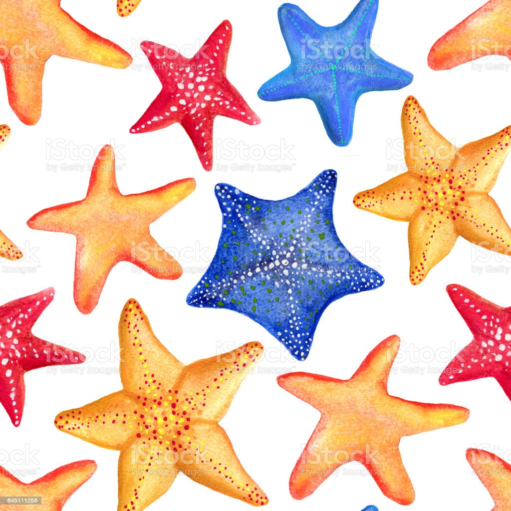 Seamless Watercolor Pattern With Marine Starfish Can Be Used For