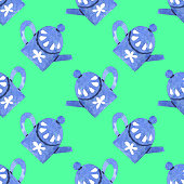 Seamless watercolor pattern with teapots isolated on emerald background