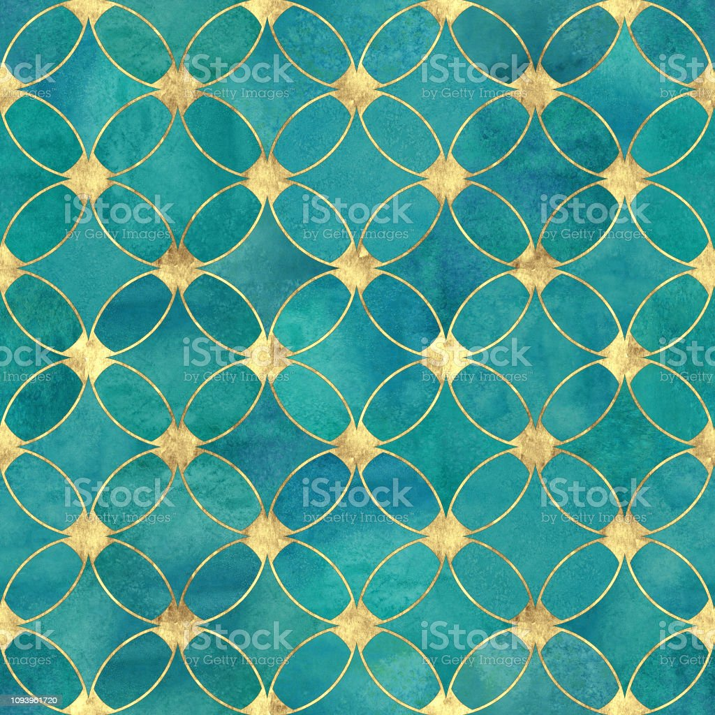 Seamless Watercolour Teal Turquoise Gold Glitter Abstract Texture Stock Illustration Download Image Now Istock