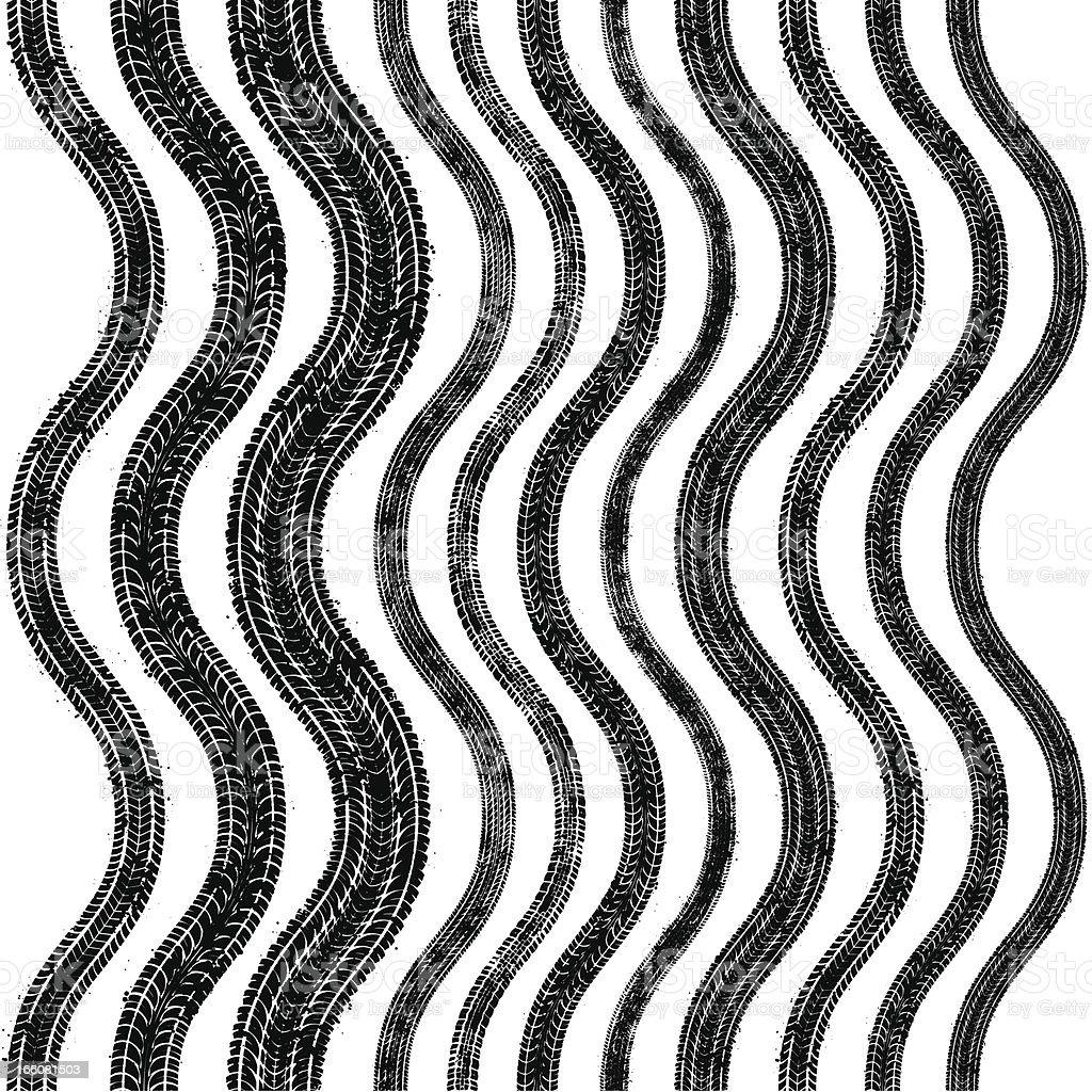 Seamless wavy tyre tracks vector art illustration