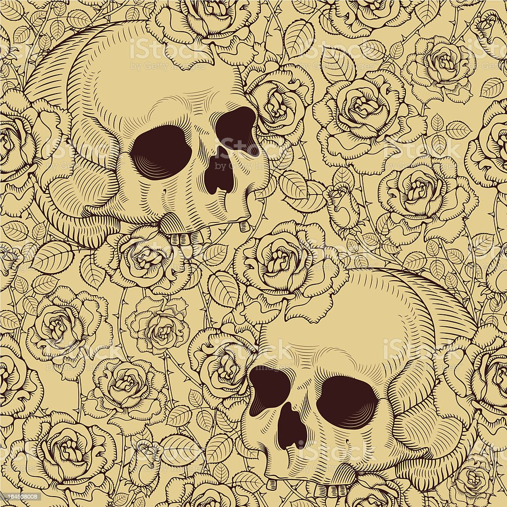 seamless with roses and skulls vector art illustration