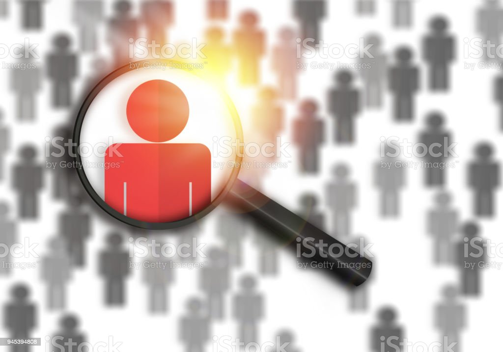 Searching for the best job candidate and people finder concept looking for the right person to stand out from the crowd.  Top pick and best choice for fitting the skillset that HR is looking for. vector art illustration