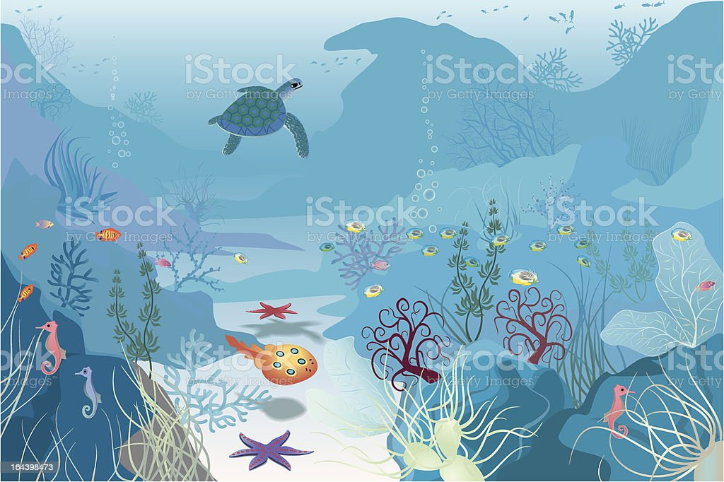Seascape vector art illustration
