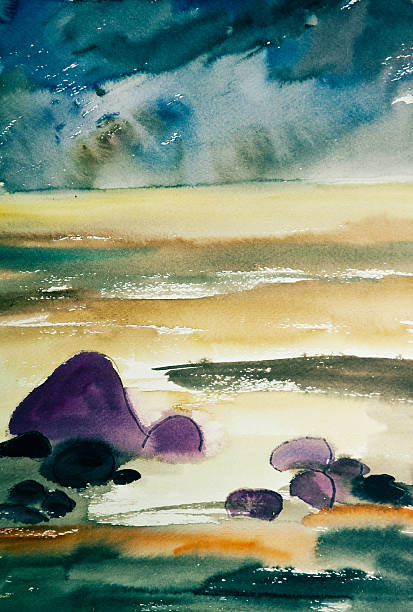 Seascape Watercolor painting by artist Indra Grasberga from Latvia. Image represents the seascape - coastline of the Baltic sea. Shot taken with studio lights, converted from Nikon RAW.OTHER PAINTINGS rocky coastline stock illustrations