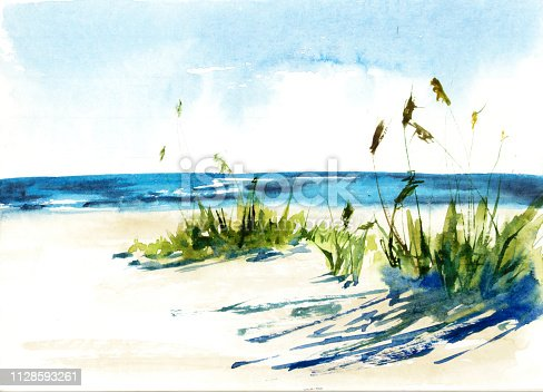 Sunny seascape. Watercolor illustration