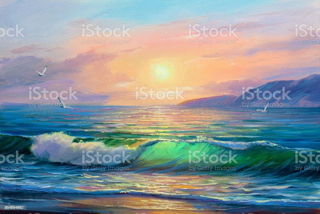 Peinture De Paysage Marin Vague De La Mer Vecteurs Libres De Droits Et Plus D Images Vectorielles De Art Istock