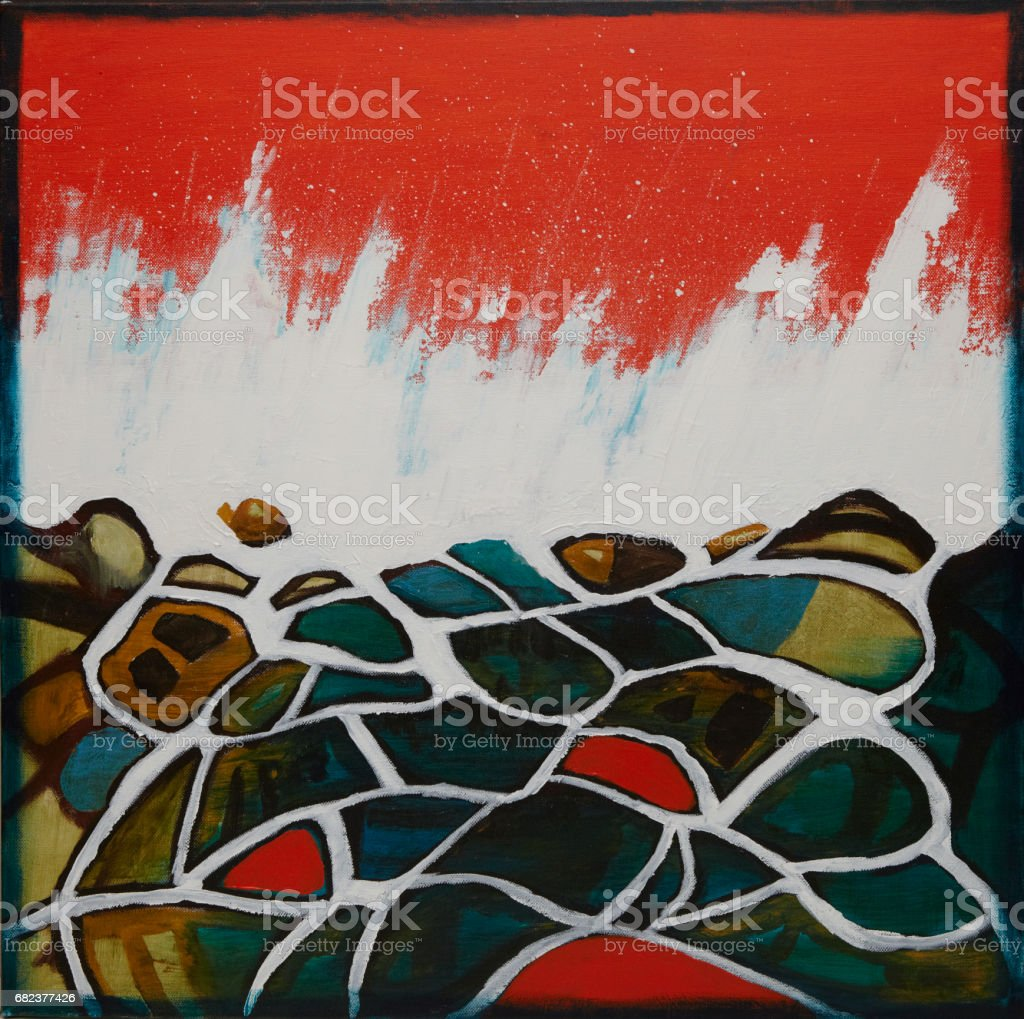 seascape rockpool with orange sky (abstract painting of rocky shoreline with orange sky) royalty-free seascape rockpool with orange sky stock vector art & more images of abstract