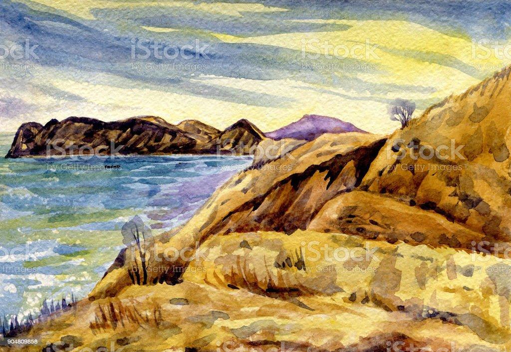 Paysage Marin Peinture Aquarelle Vecteurs Libres De Droits Et Plus D Images Vectorielles De Arbre Istock