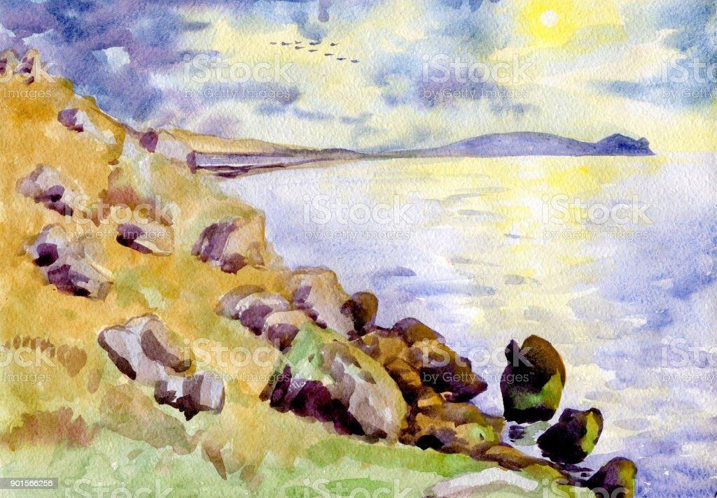 Paysage Marin Peinture A Laquarelle Montagnes Vecteurs Libres De Droits Et Plus D Images Vectorielles De Bleu Istock