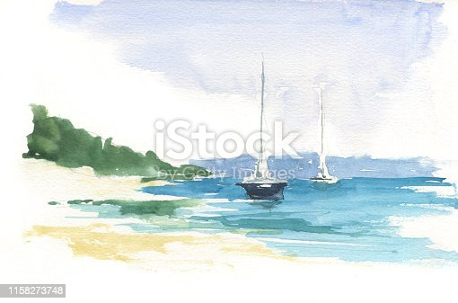 Tropical paradise. Turquoise ocean, yacht, wind and freedom. Watercolor hand painting, sketch, draft, design concept, background