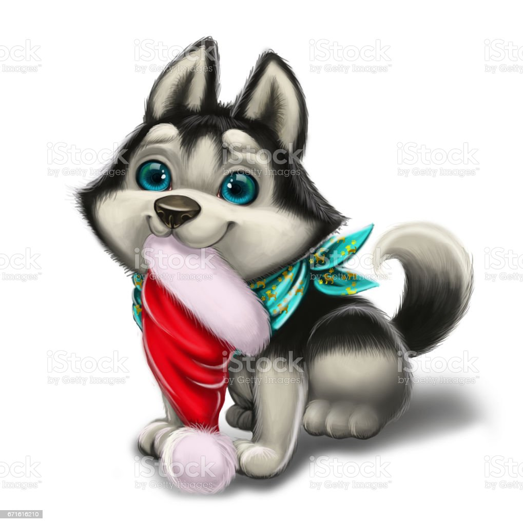 seasons greetings and holiday love with cute husky puppy merry christmas and happy new year