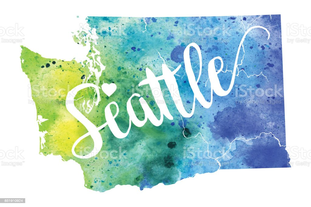 seattle washington usa watercolor map royalty free