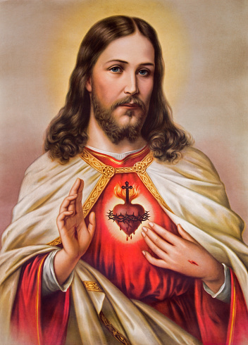 Sebechleby - Typical catholic image of Jesus Christ heart