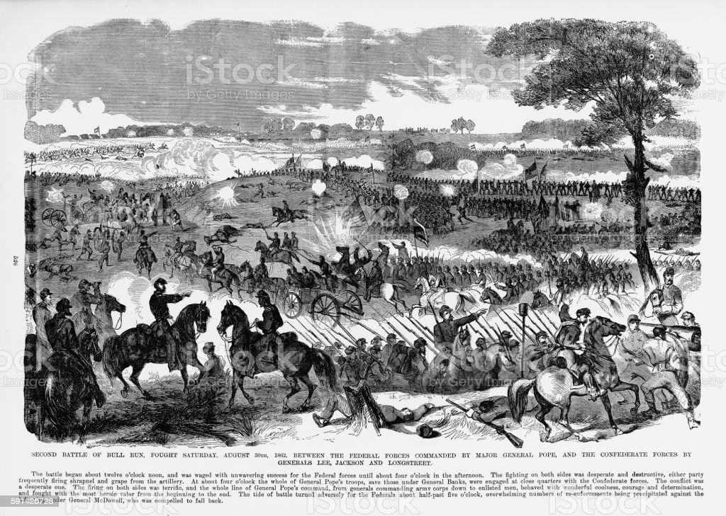 Second Battle of Bull Run, Manassas, Virginia, Civil War Engraving vector art illustration