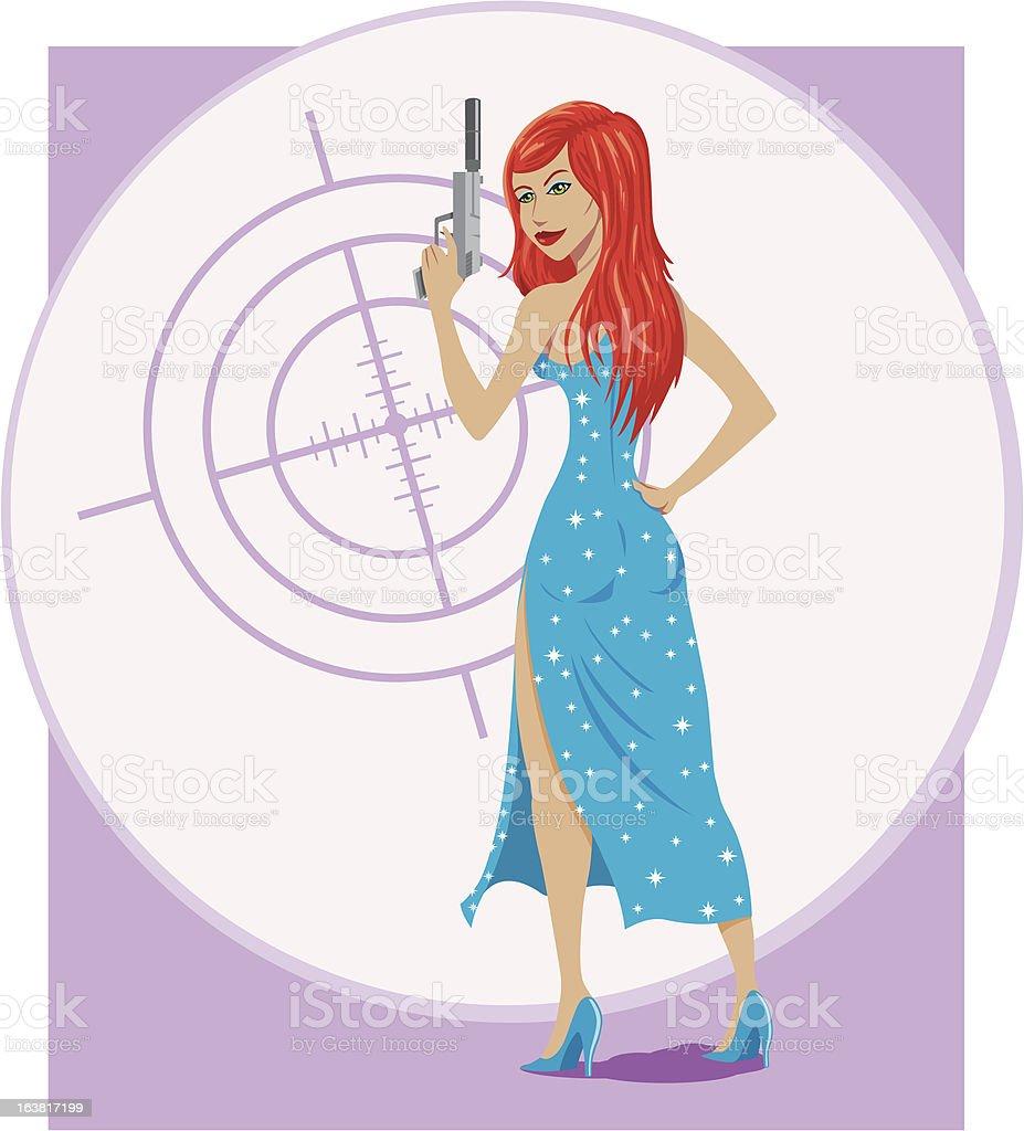 Secret Agent girl royalty-free stock vector art