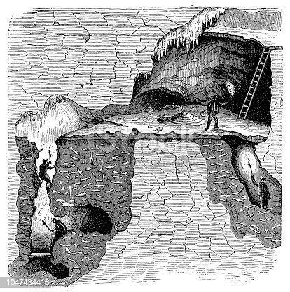 Illustration of a Sectional view of a bone cavern showing debris of animal bones. William Buckland (1784-1856) English geologist and clergyman, considered the remains to be evidence of the Biblical Flood