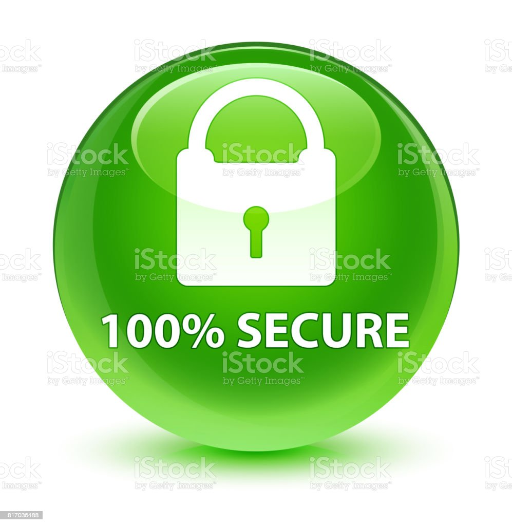 100% secure glassy green round button vector art illustration