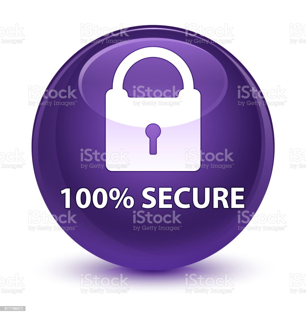 100% secure glassy purple round button vector art illustration