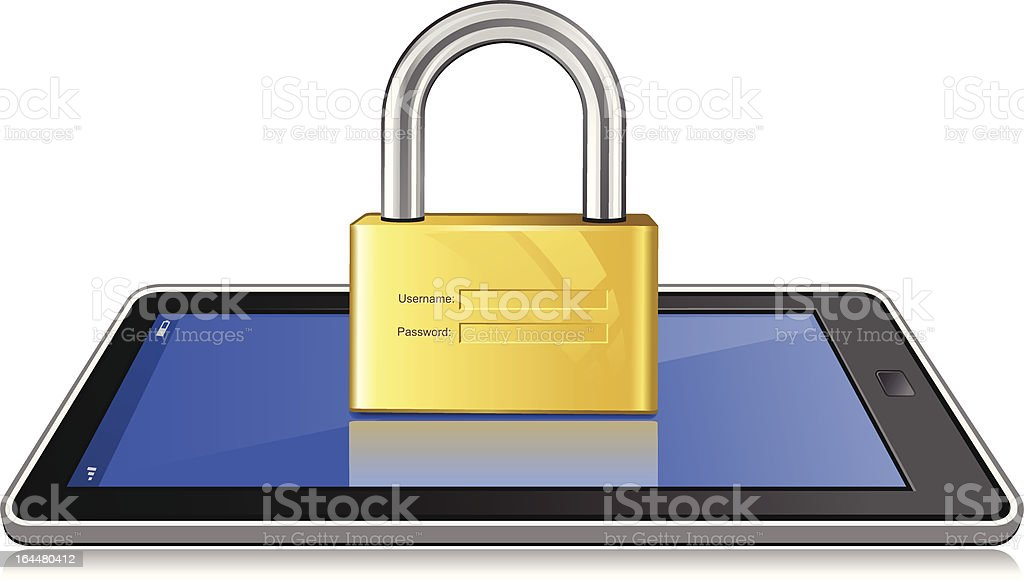 Secure Login on Tablet royalty-free stock vector art