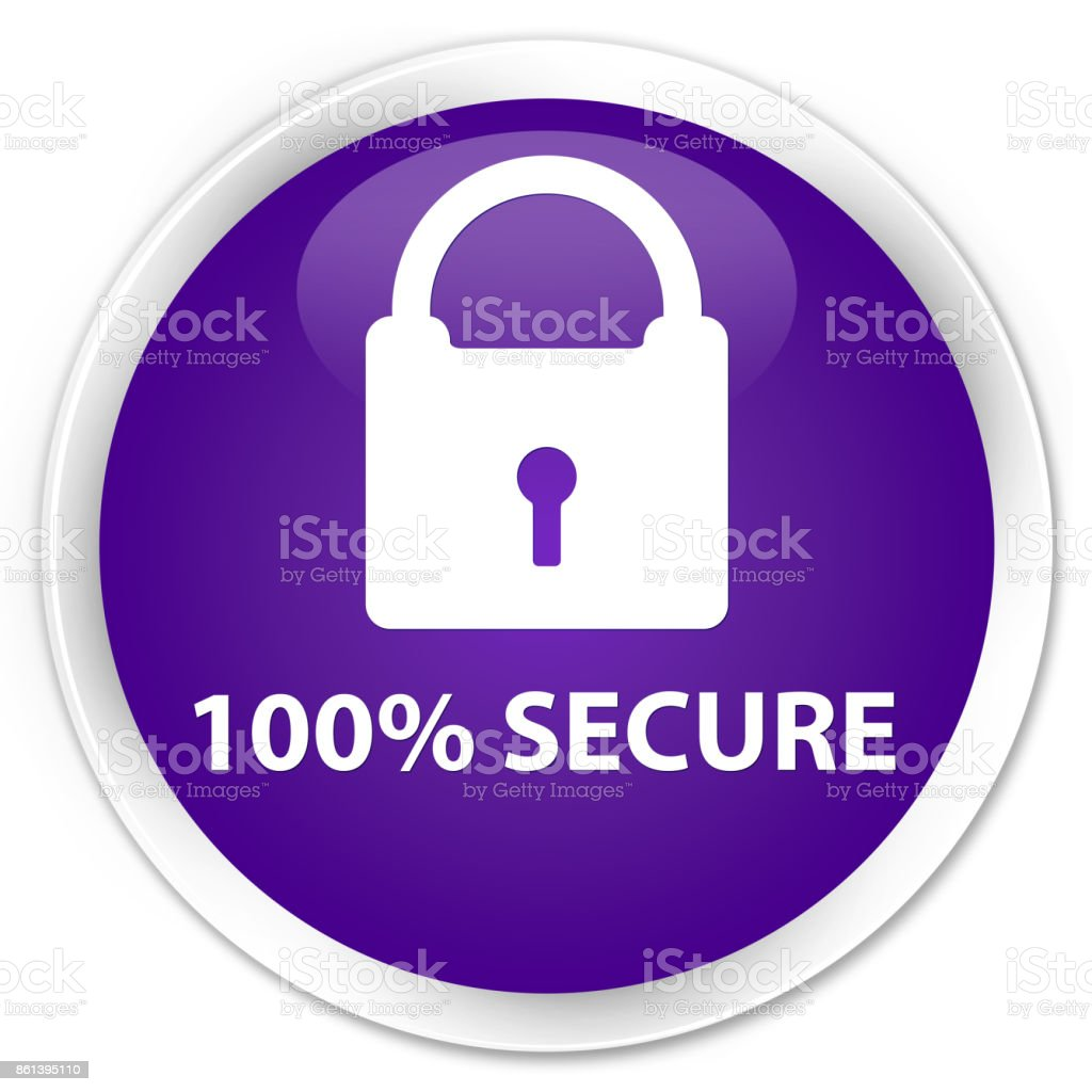 100% secure premium purple round button vector art illustration
