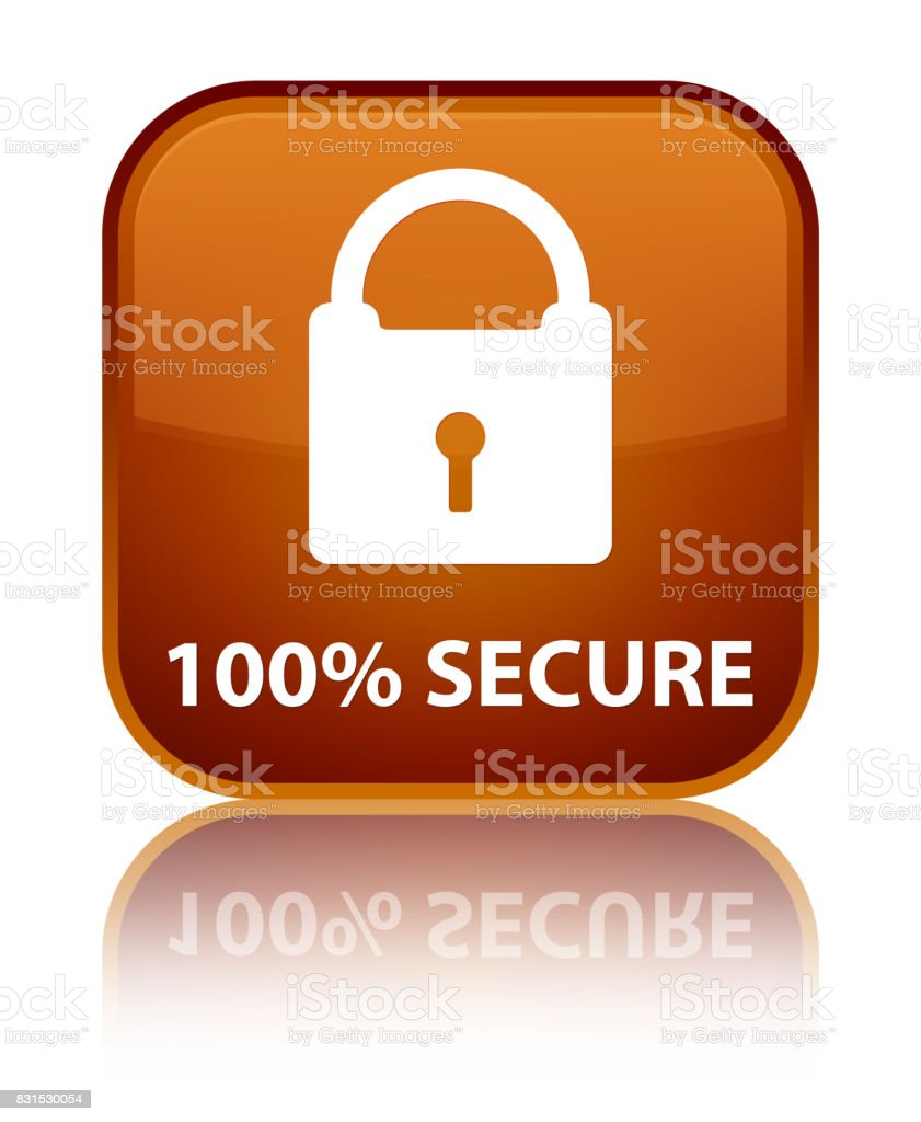 100% secure special brown square button vector art illustration