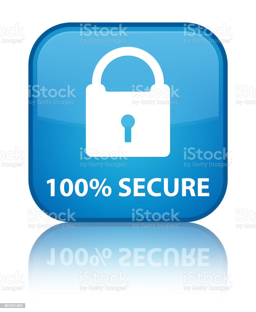 100% secure special cyan blue square button vector art illustration