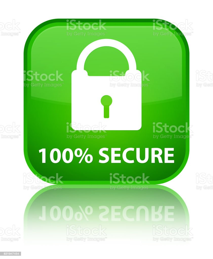 100% secure special green square button vector art illustration