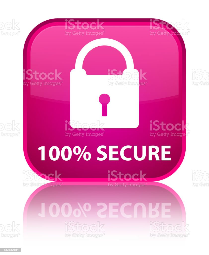 100% secure special pink square button vector art illustration