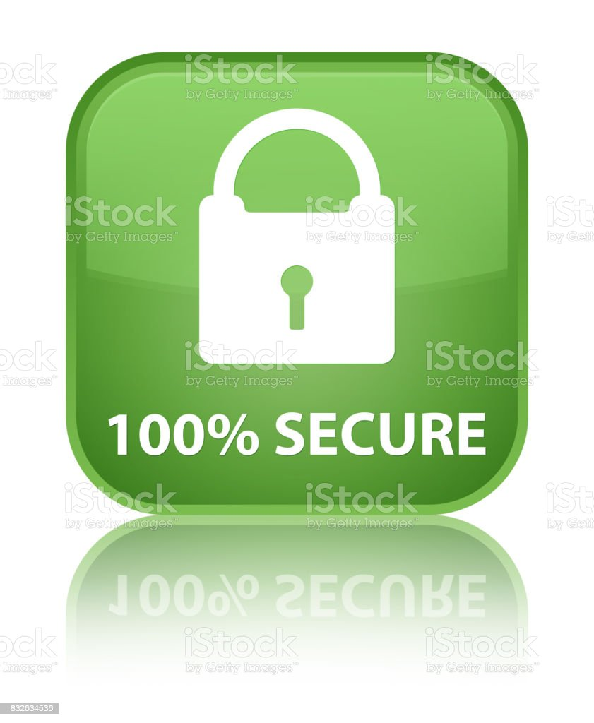 100% secure special soft green square button vector art illustration