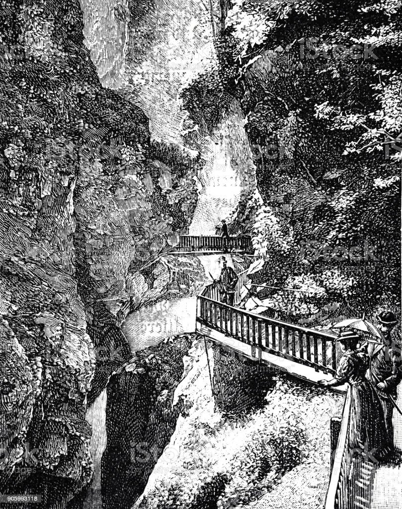 Secured footpaths in a gorge near Zermann, Switzerland vector art illustration