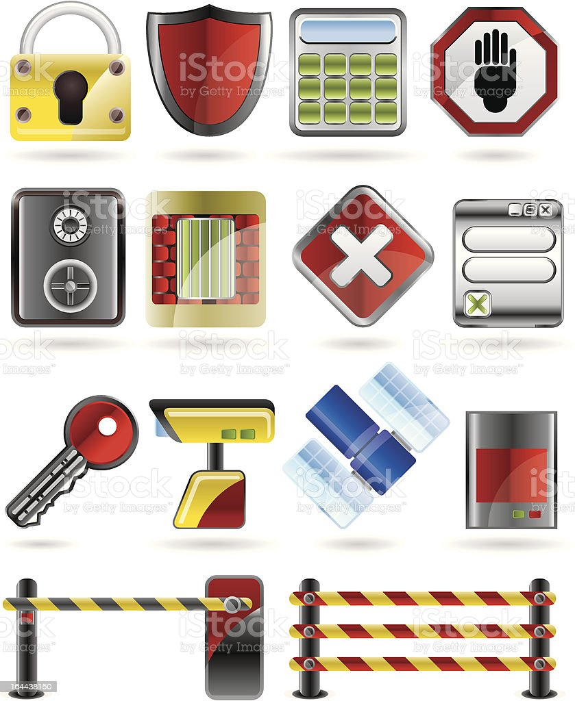 Security and Business icons royalty-free stock vector art