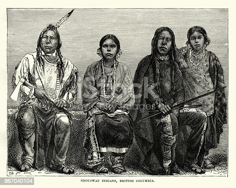 Vintage engraving of Secwepemc First Nations people, British Columbia, 19th Century. known in English as the Shuswap people.
