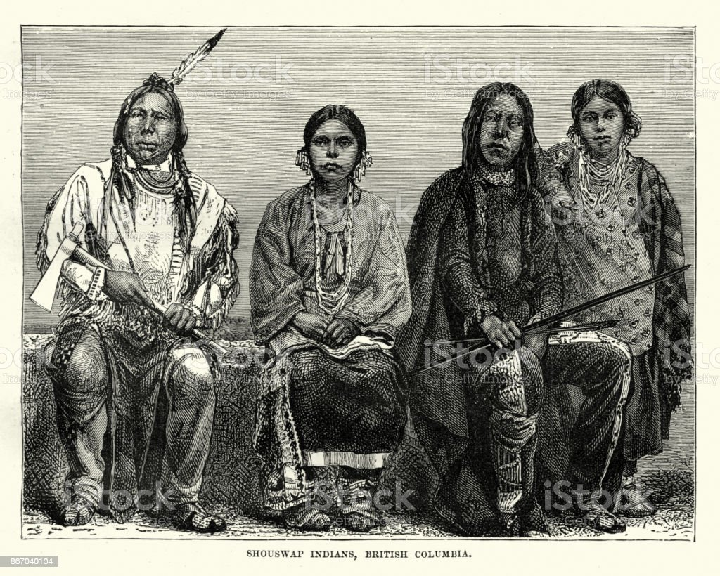 Secwepemc First Nations people, British Columbia, 19th Century vector art illustration
