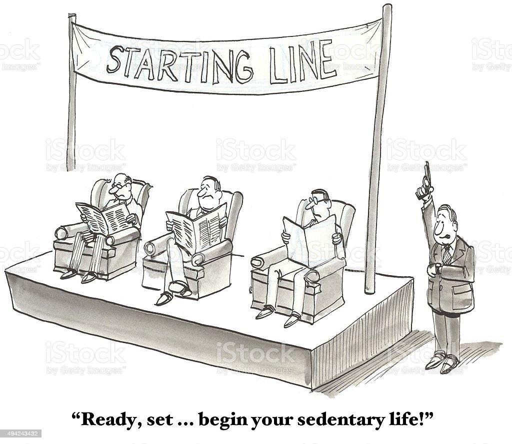 Sedentary Life vector art illustration