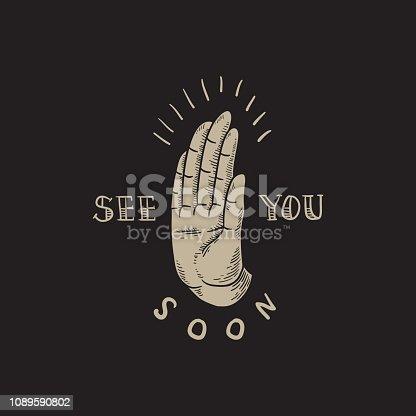 See You Soon Slogan Hand comic style vector