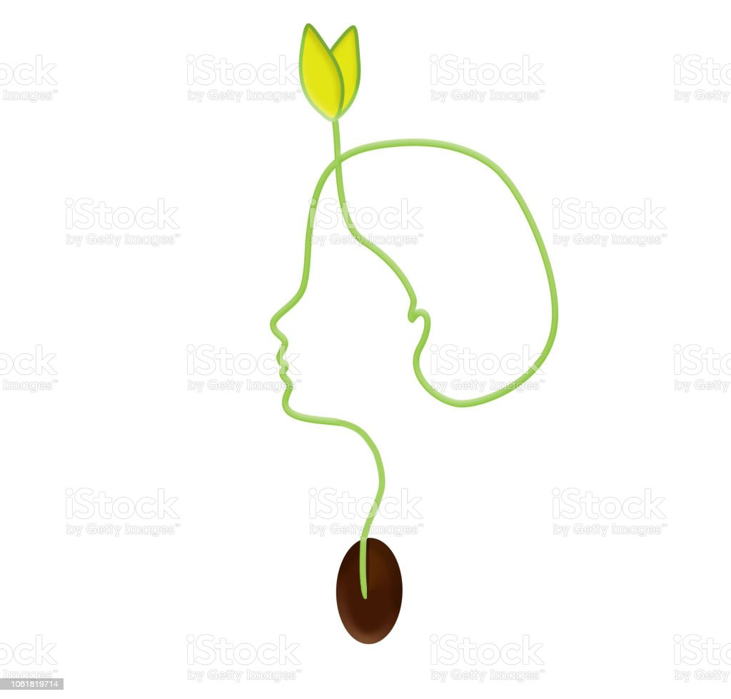 Seeds that show the courage to sprout ... Development logo vector art illustration