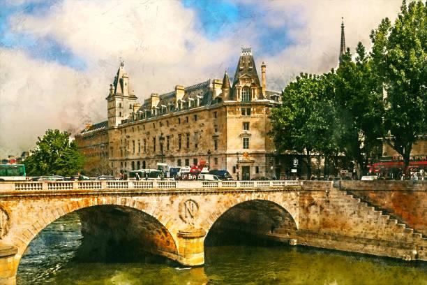 Seine Embankment and Napoleon Bridge, Paris, France - Seine Embankment and Napoleon Bridge, Paris, France - vintage painted style illustration. seine river stock illustrations