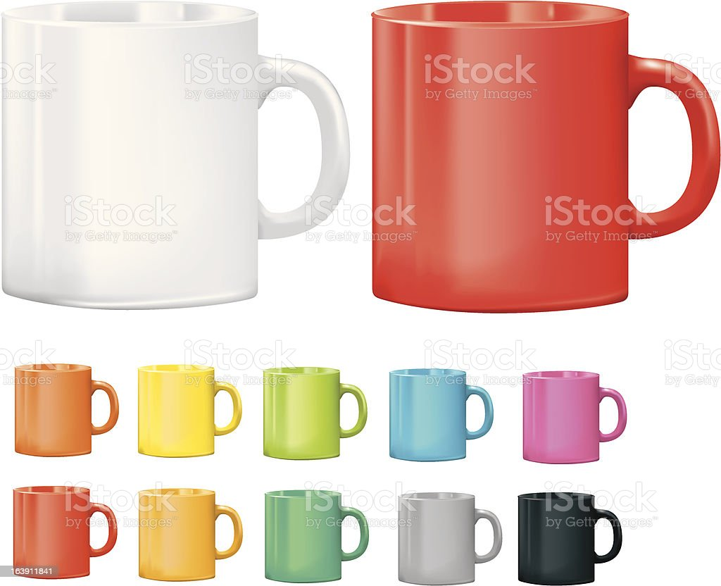 Selection of cups or mugs in different colours vector art illustration