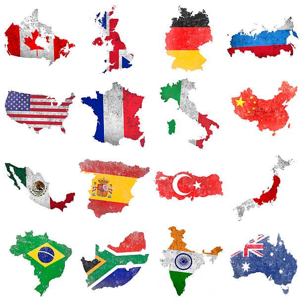 Seleção de bandeiras do mundo - ilustração de arte em vetor