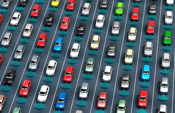 道路上の電子計算機の車を運転している自己 - 自動運転車点のイラスト素材/クリップアート素材/マンガ素材/アイコン素材